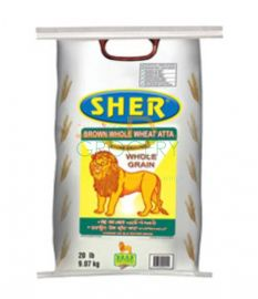 Whole Wheat Atta Flour (Sher)  - 20 LB