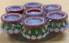 Decorative Mataki (Pot) Wax Diya Set - 7 Pcs