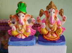 6 Inch Ganesha Idol CLAY (Painted) Eco Friendly