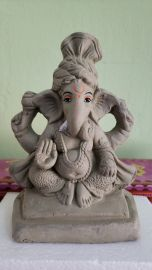 6 Inch Ganesha Idol CLAY (Un-Painted) Eco Friendly