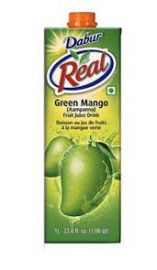 Real Green Mango (Aam Panna) Fruit Nectar Juice (Dabur) - 1 LTR