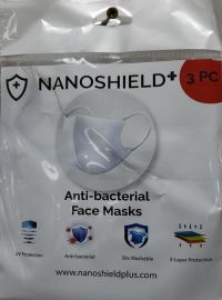3 pc Adult Anti Bacterial Face Mask (Nanoshield) - 3 Pieces